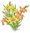 Flower of the Month August Gladiolas Select-A-Size Ceramic Waterslide Decals Bx image