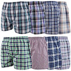 Mens Boxer Shorts Check Woven Cotton Elastic Waist Loose Fit Underwear 3 pack