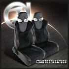 2X JDM Black PVC Red Checked Stitching Full Reclinable Racing Bucket Seats