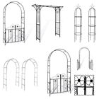4 Style Metal Garden Arch & Gate Heavy Duty Arbour Roses Climbing Plants Archway