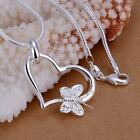 silver plated pendan 925 fashion Silver jewelry butterfly heart pendants necklac