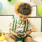 US Stock Kid Boys Formal Suit T-shirt Tops Suspender Pants Shorts Outfit Costume
