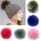 Diy Women Large Faux Raccoon Fur Pom Pom Ball With Press Button For Knitting Hat