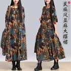 Womens Floral Gown Robe Linen Maxi Cotton Loose Long Casual Bohemia Dress US M