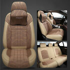 Universal Leather Fabric Car Seat Cover Cushion Headrest Front Rear Set 5-Seats