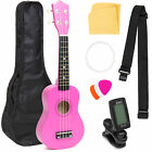 BCP Basswood Ukulele Starter Kit w/ Case, Strap, Picks, Clip-On Tuner, Strings