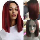 Ombre Wine Full BOB Wigs 100% Brazilian Human Hair Lace Front Wig Real Soft SV