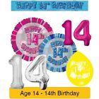 AGE 14 - Happy 14th Birthday Party Banners Balloons Badges Candles & Decorations