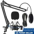 PROFESSIONAL Condenser Microphone with Mic Suspension Scissor Arm Stand Kit USA
