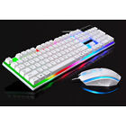 US Wired Gaming Mechainal Keyboard and Mouse Set LED Backlight USB for PC Laptop