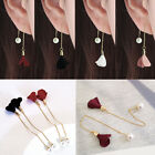 Newly Women Gold Plated Crystal Flower Drop Long Dangle Chain Earrings Threader