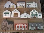 9 CAT'S MEOW Amish Themed Wood Replica Pcs. Pennyslvania & Ohio Area Bldgs