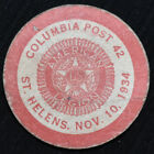 "OREGON, ST HELENS,  AMERICAN LEGION,  ""GOOD FOR 5¢"" CARDBOARD TOKEN, UNLISTED"