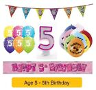 Happy 5th Birthday AGE 5 Party Balloons Banners Badges & Decorations Helium GIRL