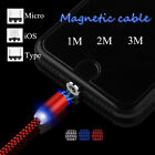 1M 2M 3M LED Magnetic Micro USB/Type C/iOS Fast Charger Cable For iPhone 8 7 6 5