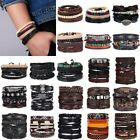 4Pcs Punk Multilayer Leather Bracelet Men's  Women Wristband Bangle Jewelry Set image