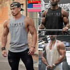 US Mens Sports Slim Muscle Tee Tank Top T-Shirt Casual Sleeveless Gym Shirt Vest image