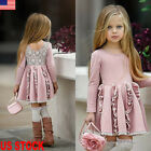 US Boutique Toddler Baby Kids Girl Princess Spring Casual Dress Sundress Clothes