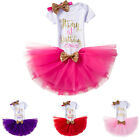 It's My First Birthday Dress 3pcs Outfits Baby Girl Romper +Tutu Skirt +Headband