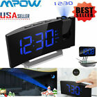Mpow 5'' LED Curved Projection Alarm Clock FM Radio 12/24 Hour SNOOZE Dual Alarm