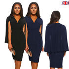 Womens Elegant Solid Sleeveless Badycon V Neck Ruched Cape Wrap Party Midi Dress