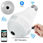 HD 360 Degree LED Light Bulb IP Camera Fisheye Home Security WiFi Camcorder