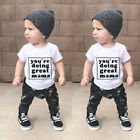 US Fashion Toddler Kids Baby Boy Casual Clothes Outfits T shirt Tops+Camo Pants