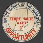 Vintage Terre Haute Indiana Label Noting it is on the Banks of the Wabash River