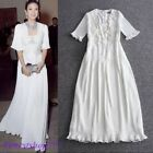 Chic Womens White Bead Floral Runway Square Neck Short Sleeve Casual Party Dress