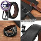 "Belts For Men Genuine Leather Dress Belt Reversible With 1.3"" Wide Rotated Buckl"