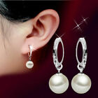 Women Fashion 925 Sterling Silver Freshwater Pearl Drop Dangle Earrings Jewelry