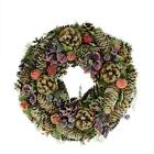 """13"""" Sugared Purple and Red Pine Cone and Berries Artificial Christmas Wreath - U"""