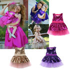 Sequins Kids Child Baby Girl Dress Princess Party Dress Gown Bridesmaid Dresses
