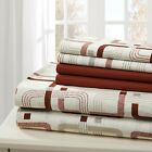 SHEET SET PRINT 6 PIECE COTTON PERCALE SOFT DEEP POCKET  FREE WASH CLOTH image