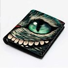CHESHIRE CAT ALICE  Men's Wallet Black Leather Custom Money & Card Holder