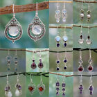 Women Amethyst Moonstone Opal Ruby Topaz Dangle Drop Earrings Hook Jewelry