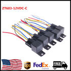 US Stock Waterproof Car Relay Switch DC 12V 30 40A 5Wire SPDT with Socket