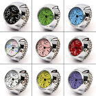Unisex Colorful Finger Ring Watch Creative Steel Tone Round Dial Elastic Quartz image