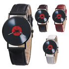 Fashion Retro Vinyl Record Round Dial Analog Quartz Wrist Watch Women Men Gift image