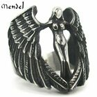 Mendel Mens Feather Mc Biker Angel Wing Ring Stainless Steel Silver Size 7-14