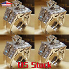 Hot Ladies Girl Silver Zircon Crystal Weeding Rings Set Cocktail Lover Gift New