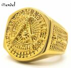 MENDEL Mens Stainless Steel Gold Freemason Masonic Past Master Ring Size 7-15