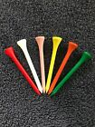 50 Wooden Golf Tees 70mm - Various Colours - Brand new