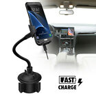 Wireless Fast Charger Car Mount Adjustable Gooseneck Cup Holder Phone Cradle New