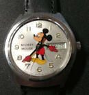 Vintage Elgin Quartz Silver Tone Day Date Mickey Mouse Character Watch & Box Lot
