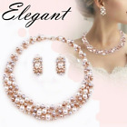 Pearl Gold Elegant Bridal Wedding Necklace Earring Women Fashion Jewelry Sets