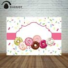 Allenjoy backdrop photocall colorful donuts and chocolate pink frame girl love
