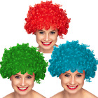 Blue Red Green Curly Afro Fancy Dress Funky Wig Clown 70s 80s