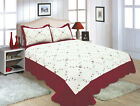 ALL FOR YOU Reversible Bedspread, Coverlet,Quilt *52* Burgundy Embroideries image