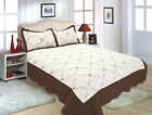 ALL FOR YOU Reversible Bedspread, Coverlet,Quilt *51* Brown Embroideries image
